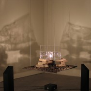 Installation view with shadows from two sensor-controlled light banks
